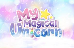 Unicorn icon on magic pastel background