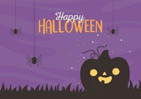 Happy halloween pumpkin greeting design vector