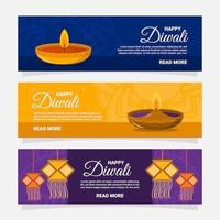 Colorful Happy Diwali Banner Collection