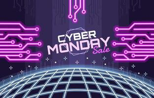 Cyber Monday Sale on Neon Background