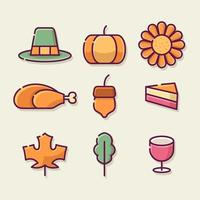 Happy Thanksgiving Day Outline Icon Set