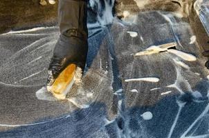 Polishing car carpet photo