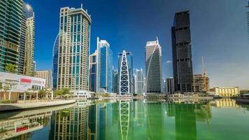 Residential buildings in Jumeirah Lake Towers timelapse hyperlapse in Dubai, UAE