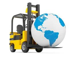Forklift Truck moves Earth Globe photo