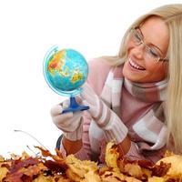 woman take globe in hands