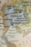 macro da Tailândia em um globo, profundidade de campo estreita