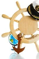 Decorative wooden steering wheel photo