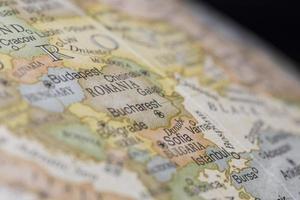 Macro of Romania on a globe, narrow depth of field