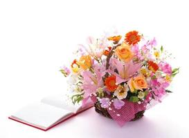 book and arrangement flowers