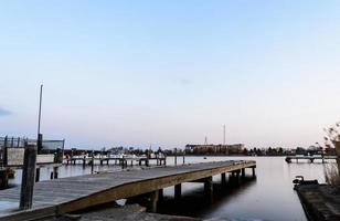 Sea pier at sun set