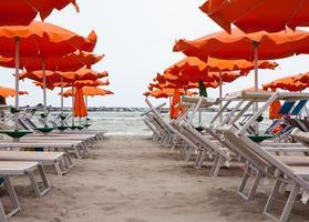 sombrillas y hamacas en rimini y riccione y cattolica beach foto