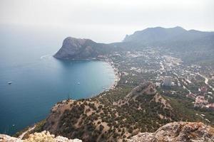 Mountain valley with sea lagoon