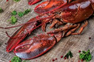 Seafood lobsters. Fresh beautiful large sea lobsters. Delicious