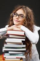 School girl with books photo