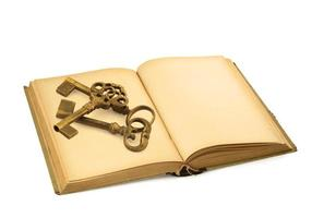 old book with keys