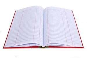 open empty notebook with lined pages isolated on white backgroun