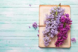 Postcard with  lilac flowers and old book