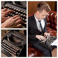 Young writer prints on retro typewriter photo