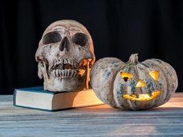 skull, pumpkin and retro book on black background photo