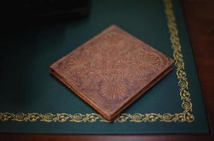 Brown natural leather classic wedding photobook and album photo