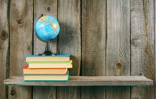 The globe and multi-coloured books.