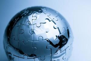 Global strategy  & solution business concept, jigsaw puzzle