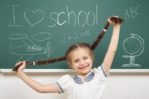 niña con coleta dibujo en la junta escolar