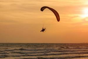 Paramotor flight over sea