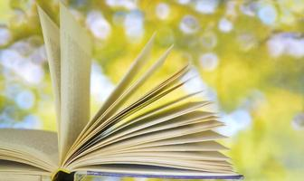 open book on blurred nature background
