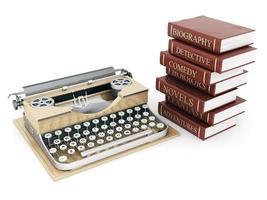 vintage typewriter and books photo