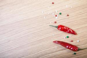 Red chili, sea salt and colorful bell pepper