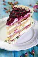 Piece of cake with cherries.