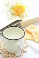 cup of milk and book