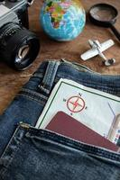 Outfit of traveler on wooden background