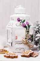 Decorative lights and Christmas cookies photo