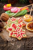 Christmas gingerbread cookies and lollipops