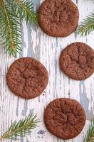 chocolate chip cookies, fir branch
