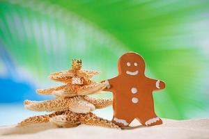 gingerbread man and starfish christmas tree on beach