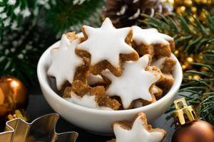 Christmas cookies in the form of stars, close-up
