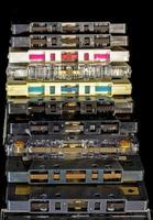 Tape side of old plastic cassette tapes photo