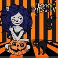 Halloween witch with carved pumpkin on stripes