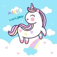 Cute unicorn in clouds with rainbow vector