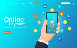 Online Payment with Mobile Phone Web Concept