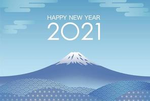 New Years Card Template with Blue Mt. Fuji  vector
