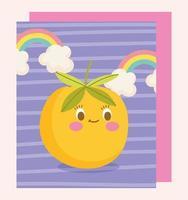 Cute orange fruit character card template vector