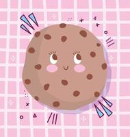 Cute cartoon cookie character design vector