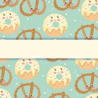 Cute sweet characters banner template with space vector