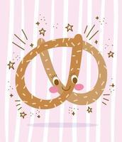 Cute cartoon pretzel character design vector
