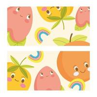 Cute fruit characters horizontal banner template set vector