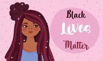 la vida negra importa el diseño con mujer joven vector
